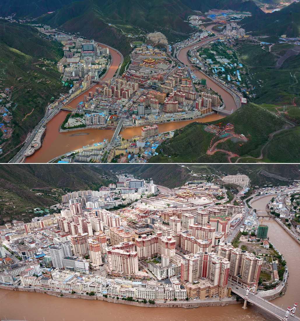 昌都市景色(9月17日攝,拼版照片)。新華社記者 普布扎西 攝