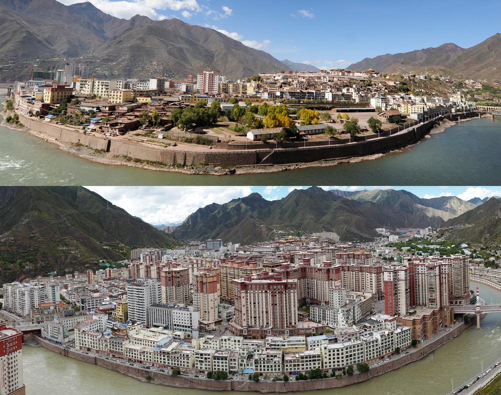 2010年拍攝的昌都市景色(上)和2020年拍攝的昌都市景色(拼版照片)。新華社記者 普布扎西 攝